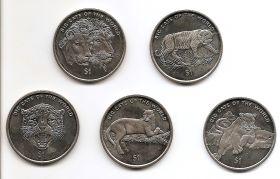 Большие кошки Мира Набор монет 1 доллар Сьерра-Леоне 2001 ( 5 монет)