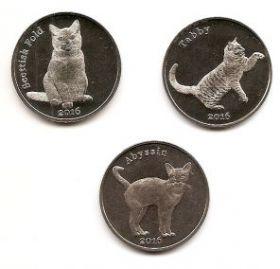 Кошки набор монет (3 монеты) 1 фунт  2016 Остров Строма