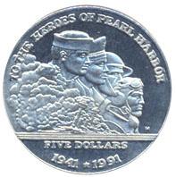 Герои Перл-Харбор 5 долларов Маршалловы острова 1991